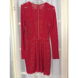 Express Dresses - Express red lace body con mini dress